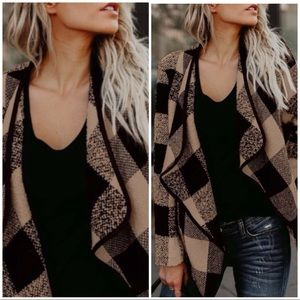 Jackets & Blazers - DEBBIE Beige brown lattice plaid coat/jacket!